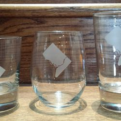 """<a href=""""http://www.hillskitchen.com"""">Hill's Kitchen</a> D.C. Double Old Fashioned glass and stemless wine glass, $9.95, and pint glass, $10.95"""