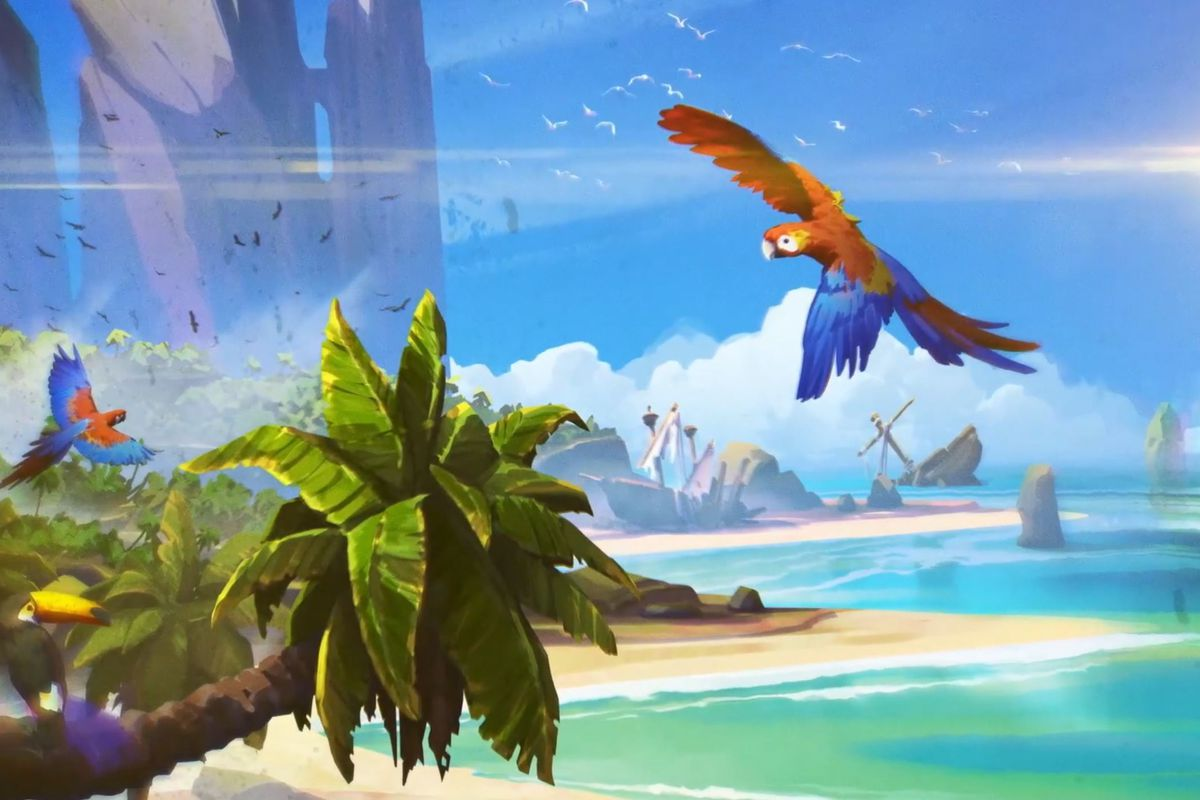 Parrots fly around a wild, fantastical tropical island.