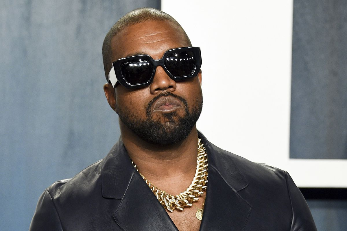In this Feb. 9, 2020, file photo, Kanye West arrives at the Vanity Fair Oscar Party in Beverly Hills.