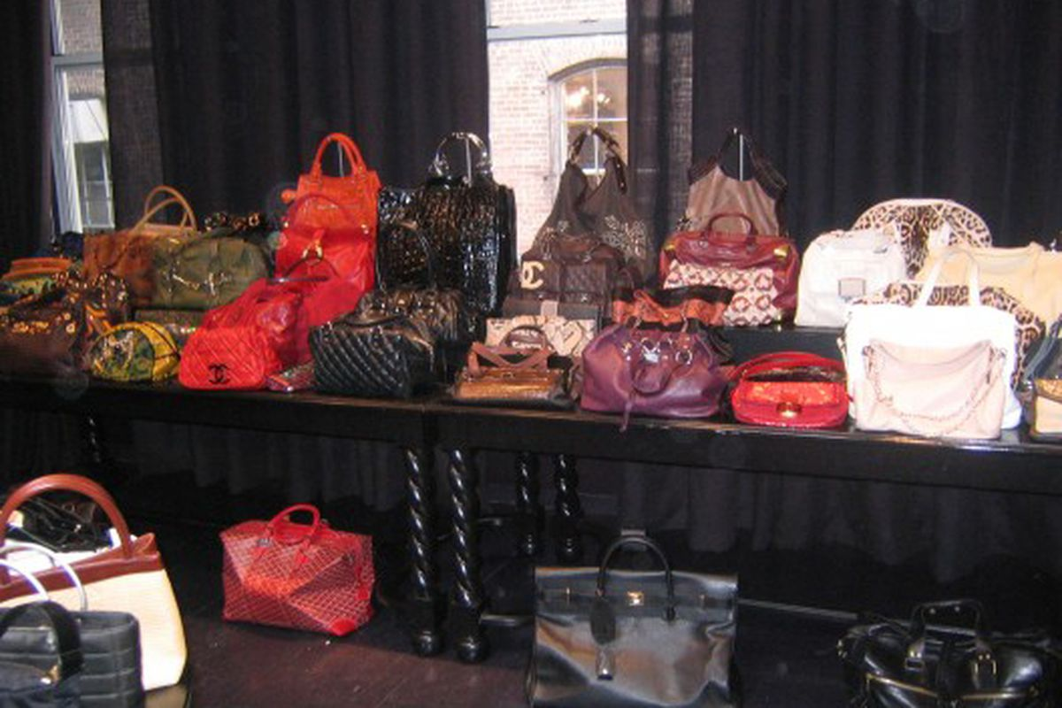"""Bags from Chanel, Gucci, Balenciaga, Lanvin and more at the last Decadestwo <a href=""""http://ny.racked.com/archives/2009/09/30/before_the_fray_a_sneak_peak_at_the_decadestwo_popup_shop.php"""">pop-up</a>"""