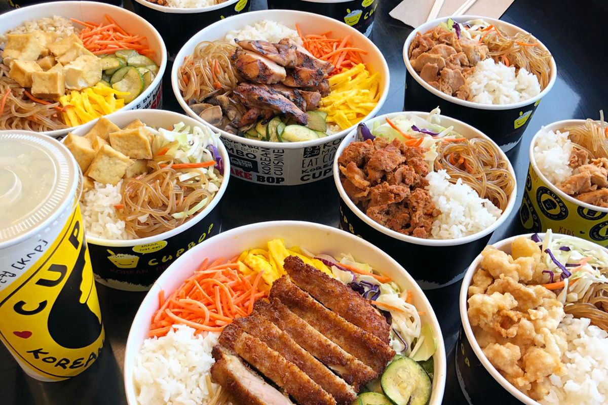 Korean barbecue meats and fried chicken on the Cupbop menu.