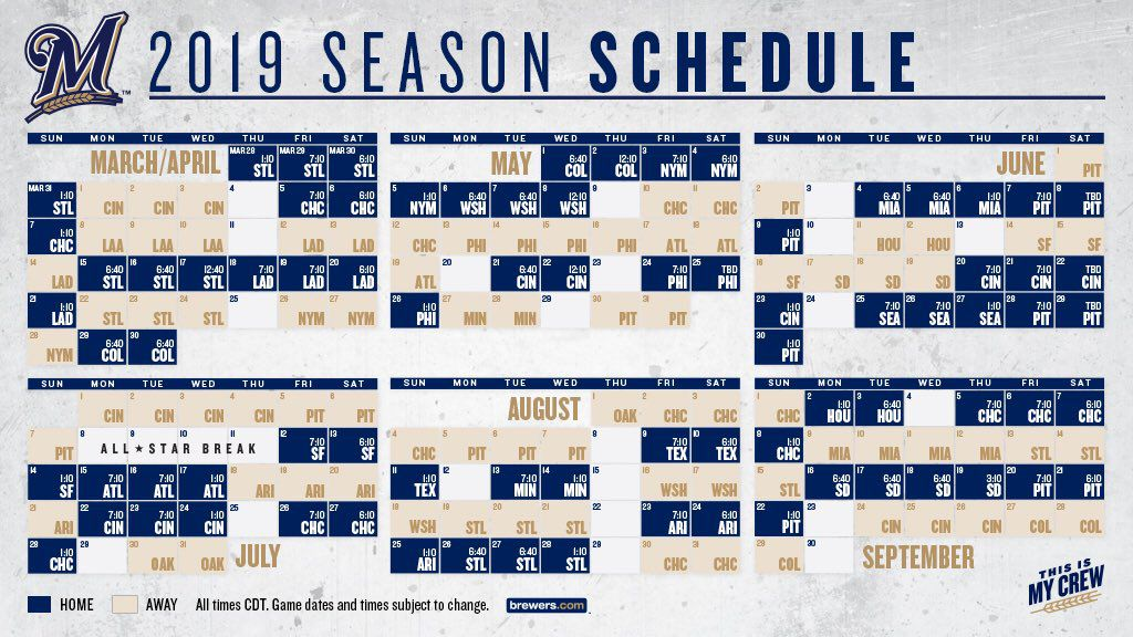 Milwaukee Brewers 2019 Schedule Brewers release 2019 schedule   Brew Crew Ball