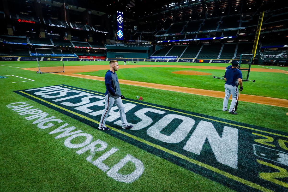 Freddie Freeman #5 of the Atlanta Braves walks onto the field during the workout for the NLCS between the Los Angeles Dodgers and Atlanta Braves at Globe Life Field on Sunday, October 12, 2020 in Arlington, Texas.