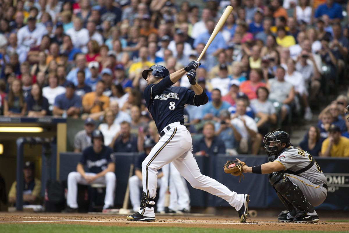 MILWAUKEE, WI - JULY 13:  Ryan Braun #8 of the Milwaukee Brewers hits a home run against the Pittsburgh Pirates in the first inning of the game at Miller Park on July 13, 2012 in Milwaukee, Wisconsin. (Photo by Mark Hirsch/Getty Images)