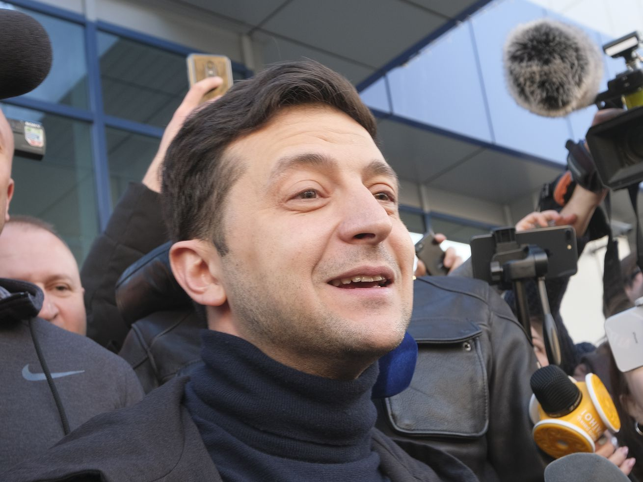 Volodymyr Zelensky was just voted in as Ukraine's next president. Here he talks to journalists after taking a drug and alcohol test at the Eurolab diagnostic center on April 5, 2019.
