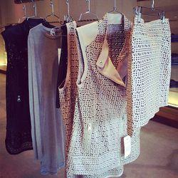 Yaya long sleeve tee, $95. Dilara laser cut biker vest, $630. Faye laser cut mini skirt, $350.