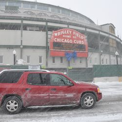Main entrance of the ballpark during the snowstorm