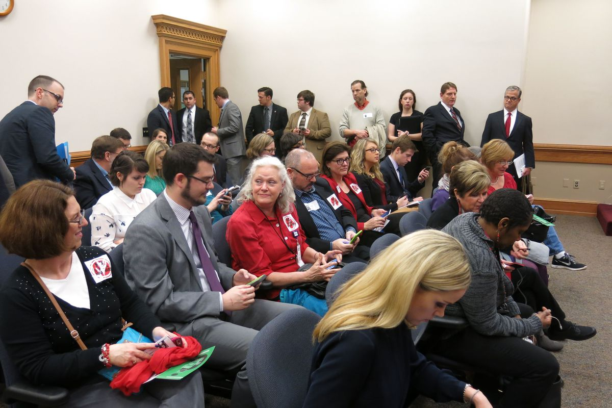 A capacity crowd, including many public school teachers, attend Tuesday's House subcommittee meeting in Nashville where a private school voucher was debated.