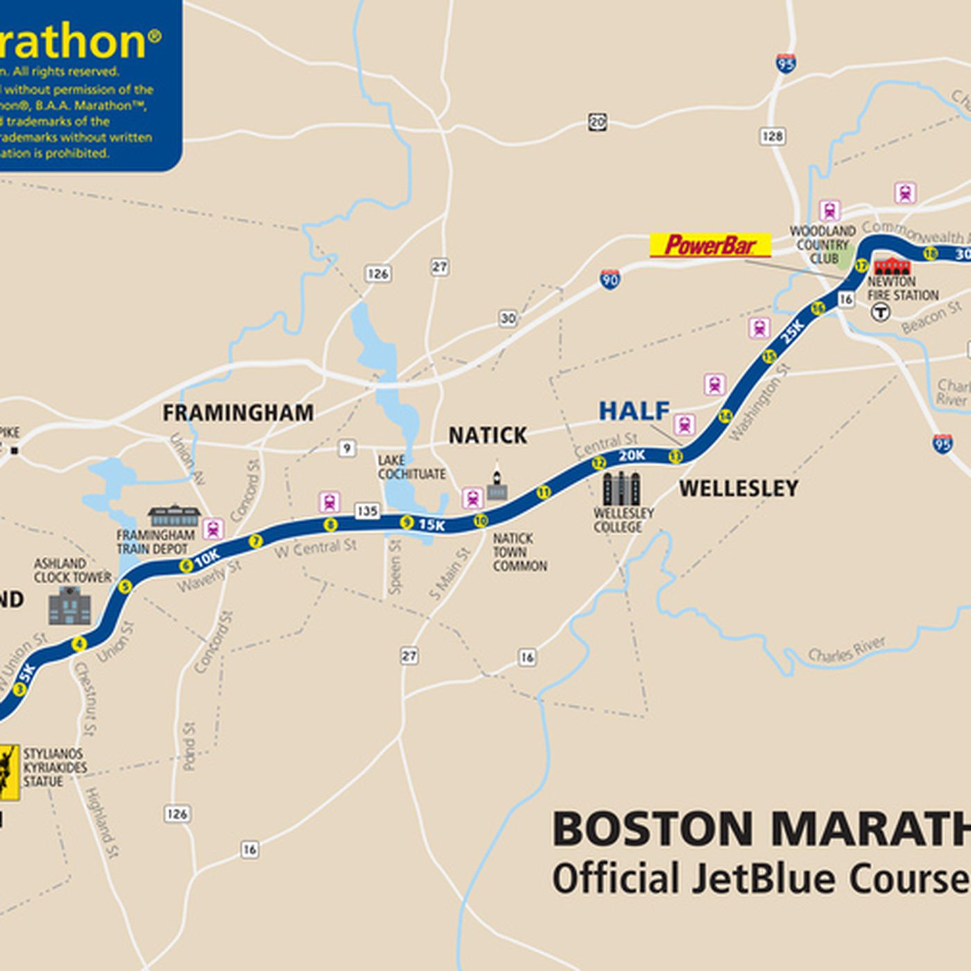 heartbreak hill boston marathon map Boston Marathon 2013 Route Information Course Map And More heartbreak hill boston marathon map