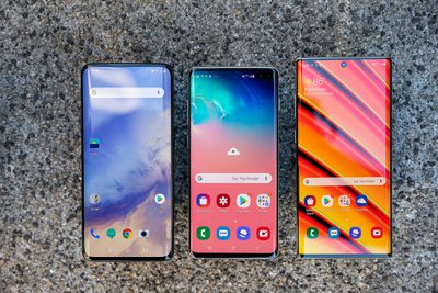 Left to right: OnePlus 7 Pro, Galaxy S10 Plus, Galaxy Note 10 Plus