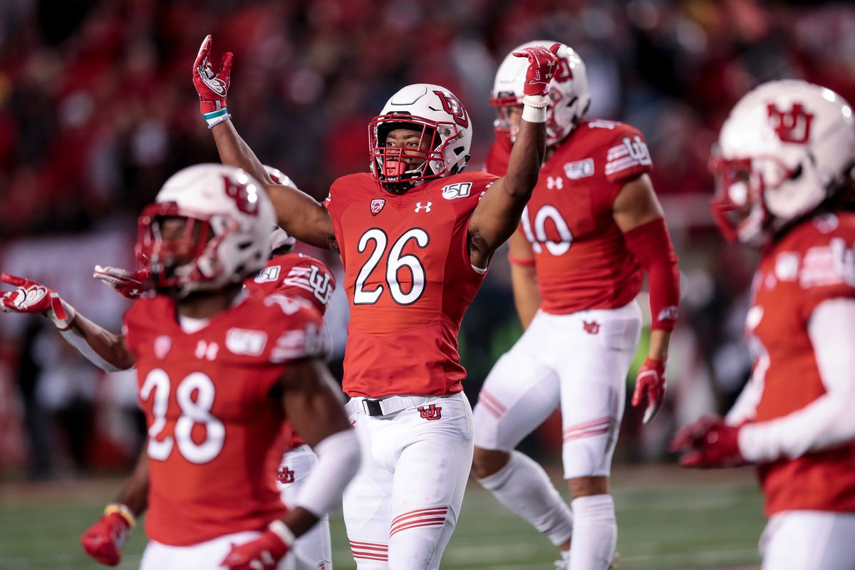 Utah Utes defensive back Terrell Burgess (26) and teammates hype up the crowd at the end of the third quarter against the against the Washington State Cougars at Rice-Eccles Stadium in Salt Lake City on Saturday, Sept. 28, 2019.