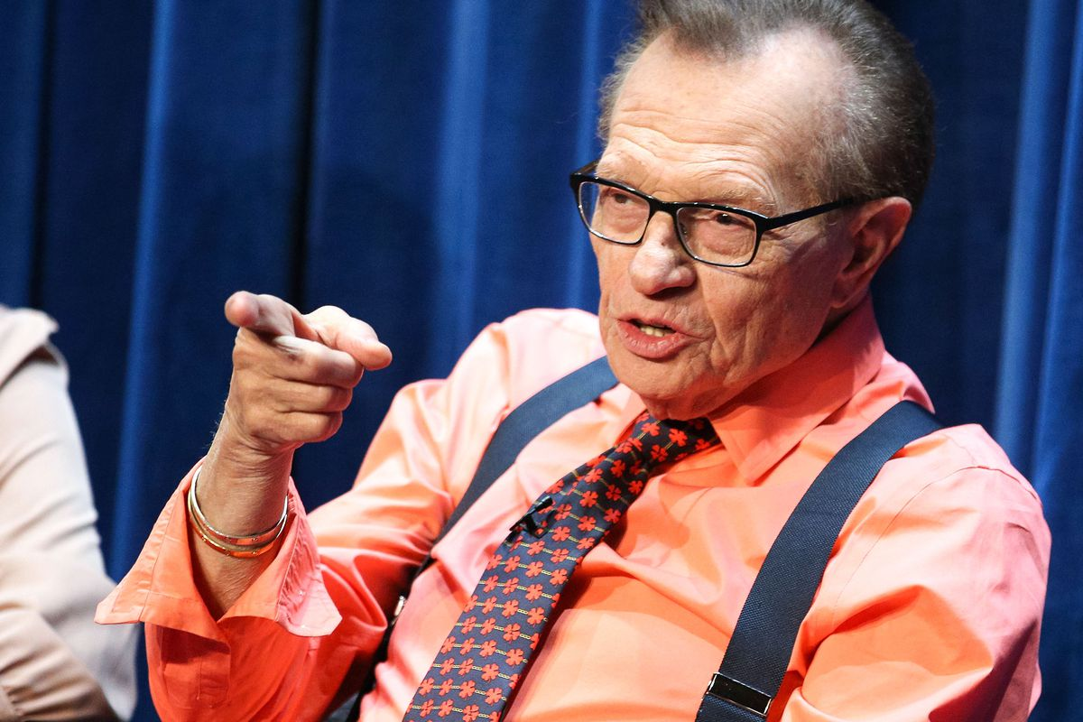 Larry King on a 2014 media panel in California.