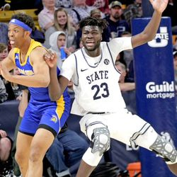 Utah State center Neemias Queta battles San Jose State's Ralph Agee for position during the Aggies' 94-56 win on Tuesday, Feb. 25, 2020, at the Spectrum in Logan.