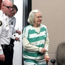Evelyn Christine Johnson, 75, enters an 8th District courtroom in Vernal on Thursday, Feb. 9, 2012, where she was sentenced to serve one to 15 years in prison for fatally shooting her husband, Alan Lavoy Johnson, in August 2004. She was initially charged with murder, a first-degree felony, but pleaded guilty in December 2011 to manslaughter, a second-degree felony.