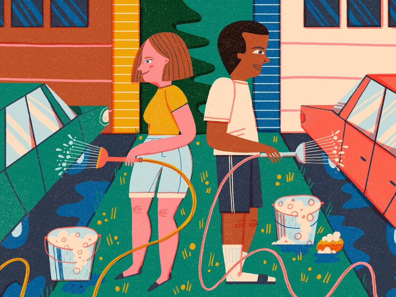 Two neighbors stand back to back rinsing their parked cars with hoses in their driveways. There are two matching buckets filled with soapy water and sponges between them. Illustration.