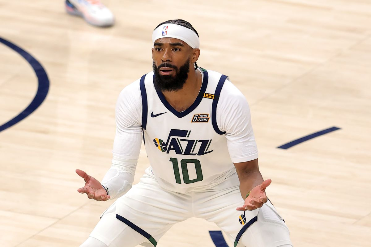 Utah Jazz guard Mike Conley (10) reacts after receiving a foul as Utah Jazz and Memphis Grizzlies play in the NBA playoffs.