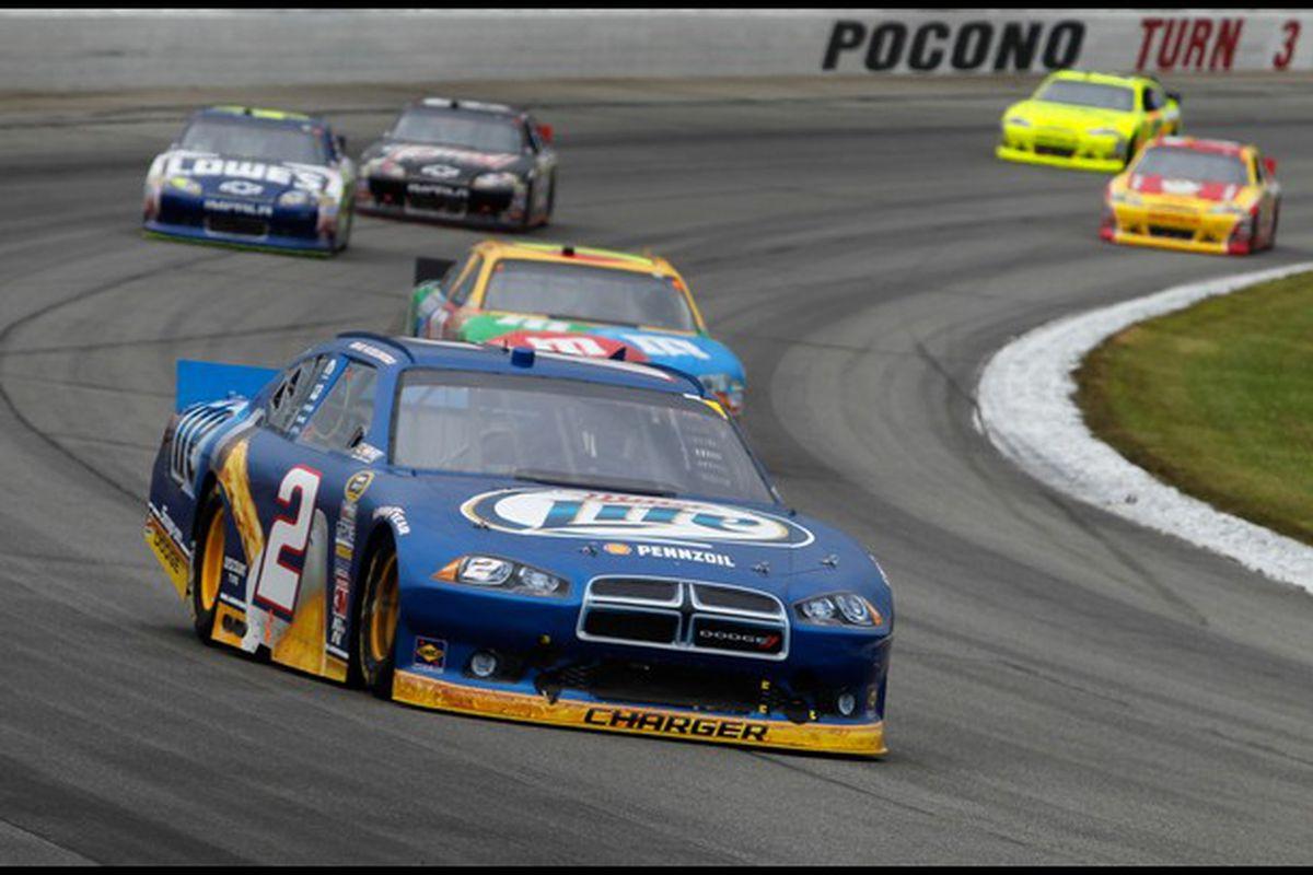 Brad Keselowski leads the field at Pocono Raceway