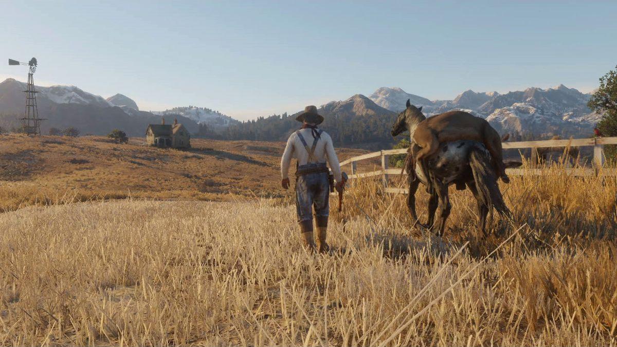 Red Dead Redemption 2 - man/horse screencap