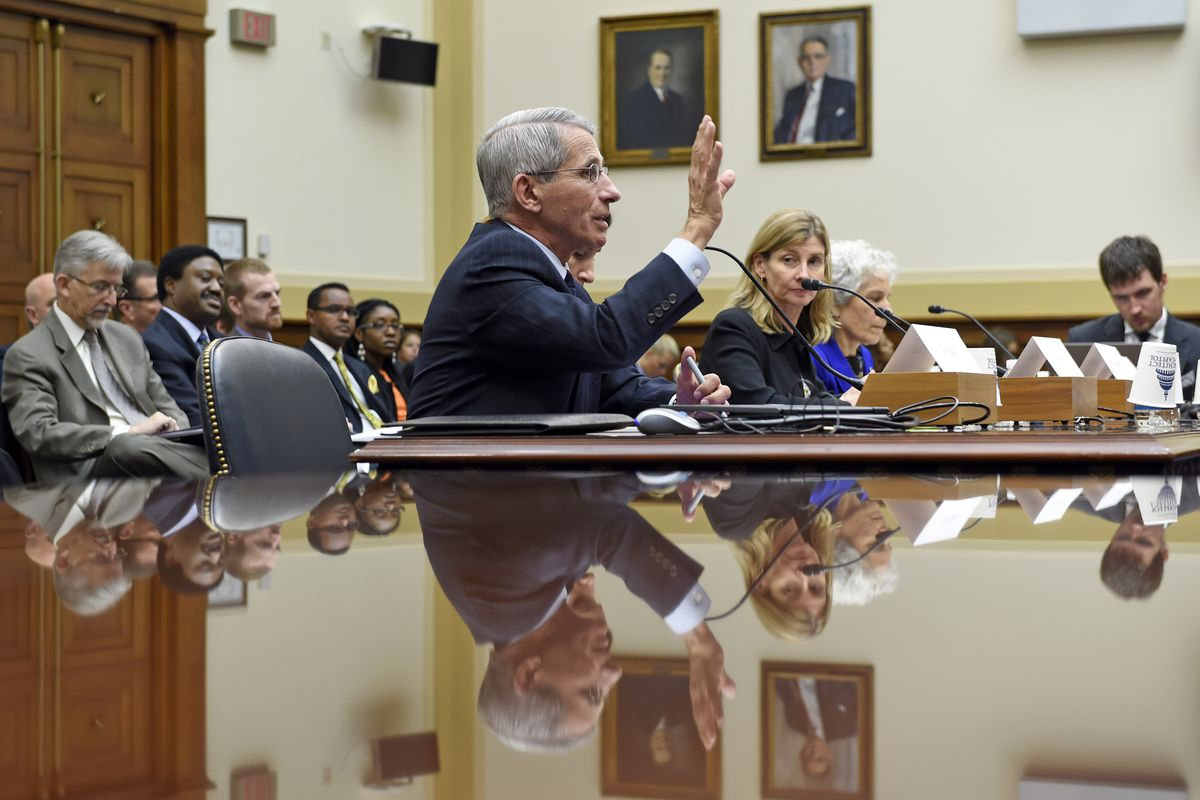 Dr. Anthony Fauci, center, director of the National Institute of Allergy and Infectious Diseases, testifies in Washington.