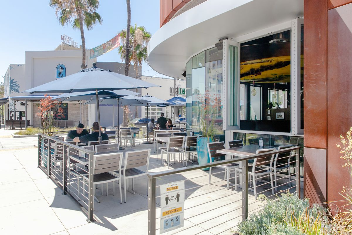 The outdoor dining area for Portuguese Bend Distilling in Long Beach, California