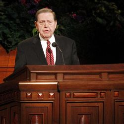 Jeffrey R. Holland speaks during the 182nd Annual General Conference for The Church of Jesus Christ of Latter-day Saints at the LDS Conference Center in Salt Lake City on Saturday, March 31, 2012.