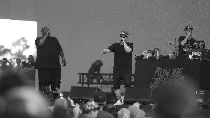 """Run the Jewels tearing through songs like """"DDFH,"""" """"Run the Jewels,"""" and """"Close Your Eyes."""""""
