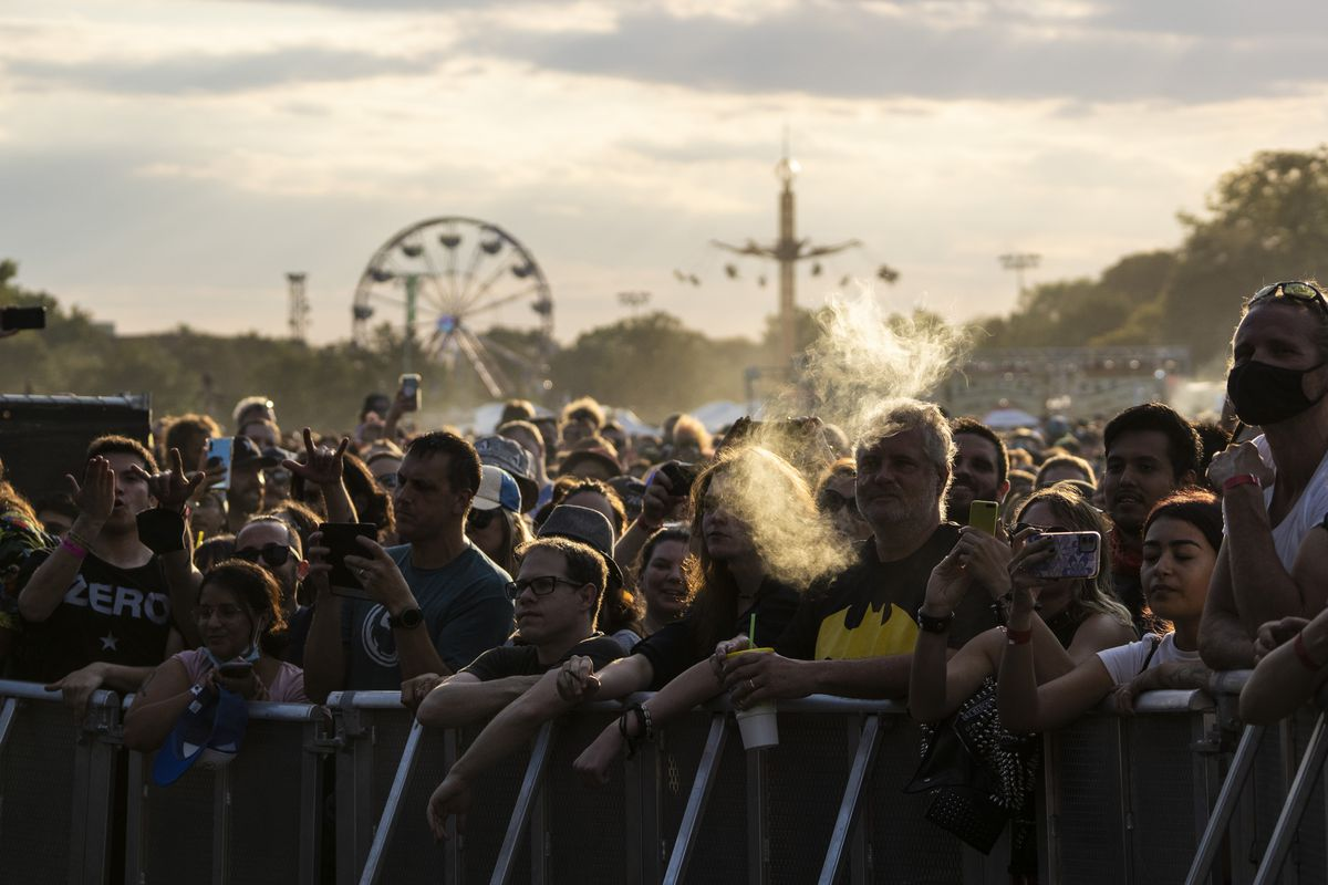 Fans take in a set by Sublime with Rome on Day 2 of Riot Fest in Douglass Park.