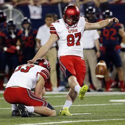 Utah Utes place-kicker Matt Gay kicks a field goal against Arizona in Tucson, Arizona, on Friday, Sept. 22, 2017. Utah beat Arizona 30-24.