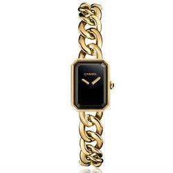 "Chanel Premiere chain bracelet watch in yellow gold, $19,000 at <a href=""http://www.chanel.com/en_US/Watches/premiere-gold#premiere-chain-bracelet-yellow-gold-H3256"">Chanel</a>."