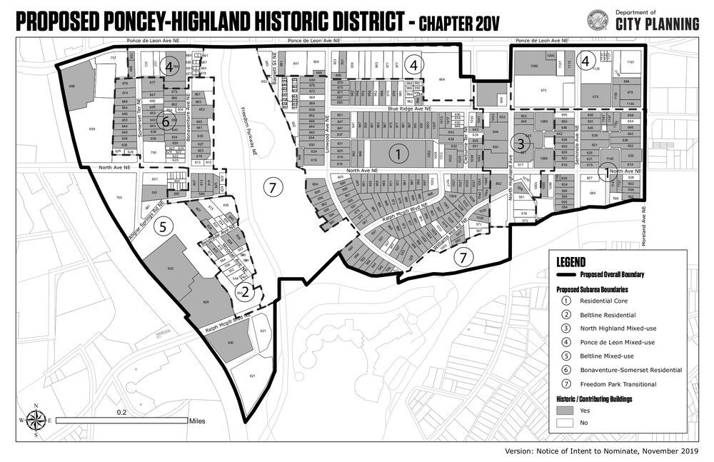 A map of the proposed historic district.