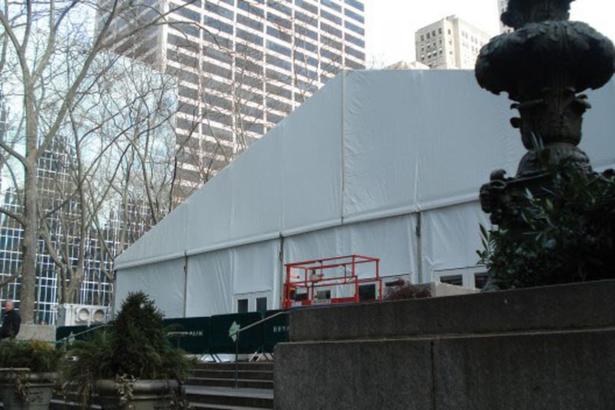 The tent at Bryant Park, just before Fashion Week last February