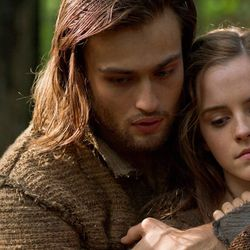 """(Left to right) Douglas Booth is Shem and Emma Watson is Ila in """"Noah,"""" from Paramount Pictures and Regency Enterprises."""