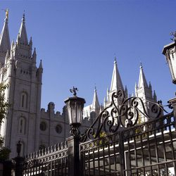 The Salt Lake Temple during the Saturday morning session of General conference Saturday, Oct. 6, 2012.