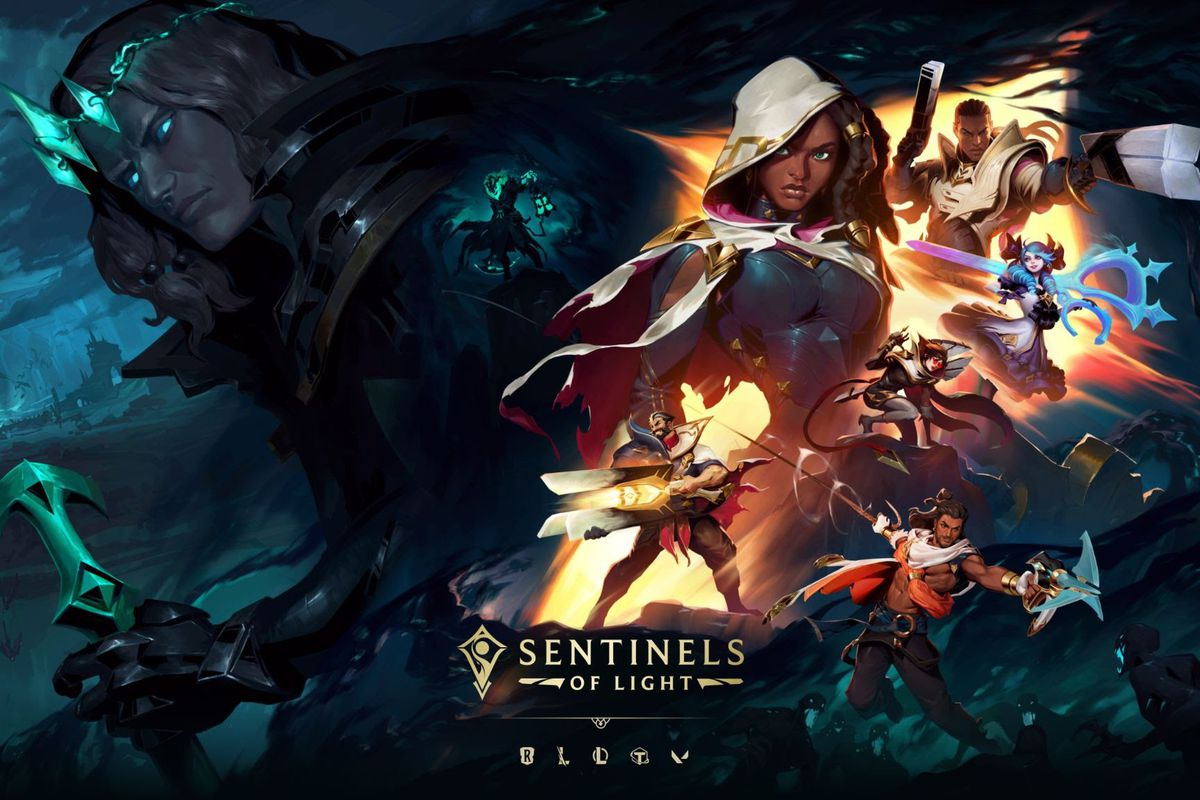 League of Legends - key art for the Sentinels of Light event, which shows Viego brooding in the background. In the foreground is Lucian, Gwen, Senna, and new skins for Vayne and Graves.
