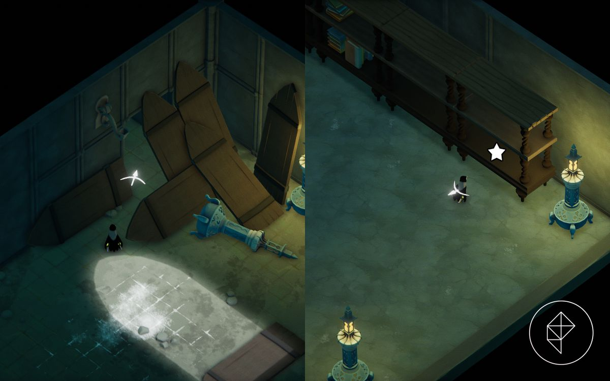 A split image showing a hallway entrance covered by wooden doors on the left, and a shelf noting where to find the Death's Contract on the right.