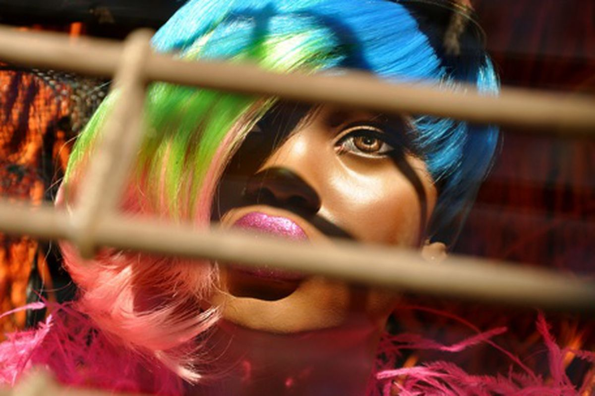 """A mannequin at Patricia Field with a Rainbow Brite asymmetrical 'do via <a href=""""http://www.flickr.com/photos/essgee/3698711203/in/pool-rackedny"""">EssG</a>/Racked Flickr pool"""