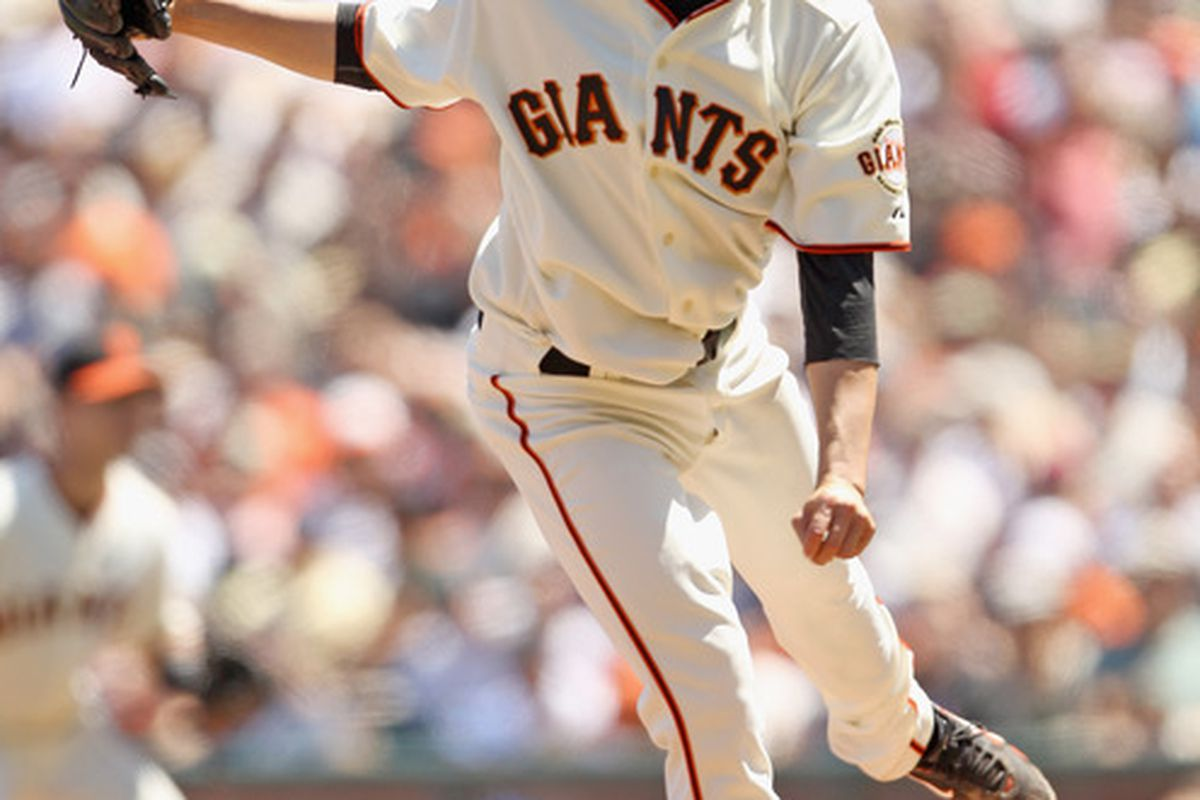 SAN FRANCISCO - JULY 18: Jonathan Sanchez #57 of the San Francisco Giants pitches against the New York Mets at AT&T Park on July 18 2010 in San Francisco California.  (Photo by Ezra Shaw/Getty Images)
