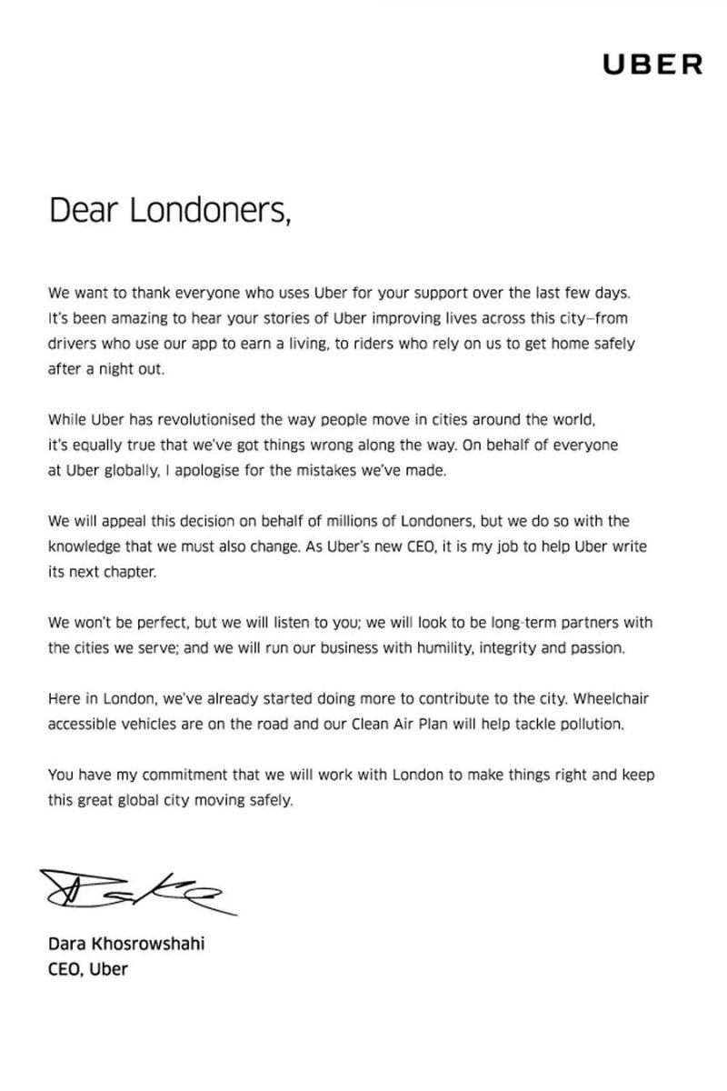 Uber s new CEO issues public apology to London for pany s