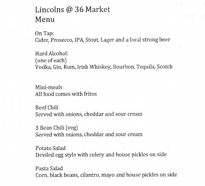 lincolns draft menu