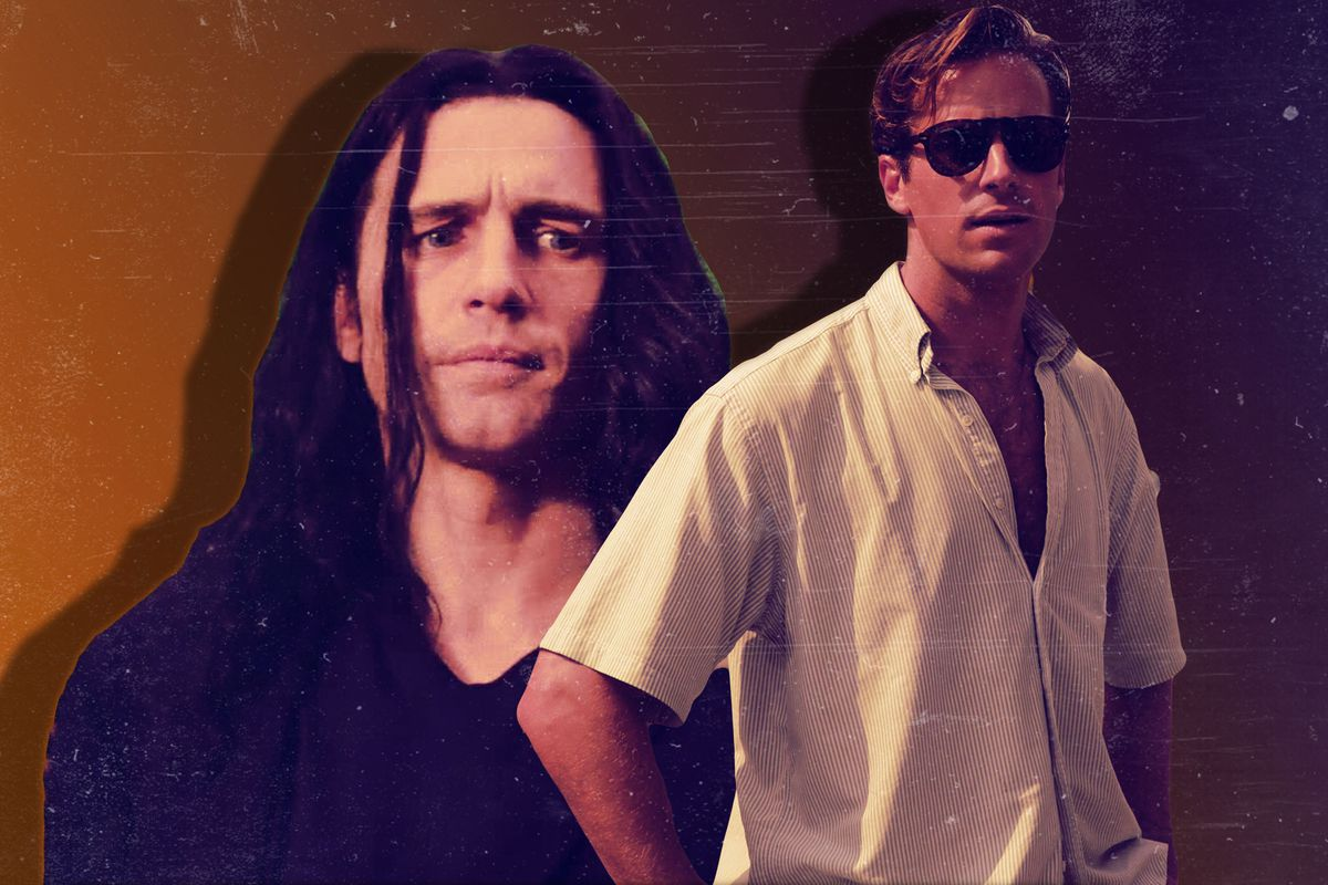 Collage of James Franco in 'The Disaster Artist' and  Armie Hammer in 'Call Me by Your Name'