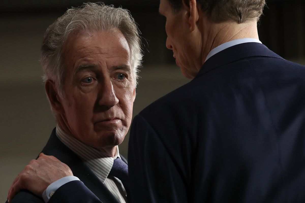 House Ways and Means ranking member Richard Neal (left) (D-MA) confers with Sen. Ron Wyden (D-OR) during a press conference where congressional Democrats reacted to the Republican tax reform proposal on November 1, 2017, in Washington, DC.