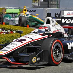 Will Power, of Australia, rounds a turn on the way to winning the IndyCar Series' Toyota Grand Prix of Long Beach auto race Sunday, April 15, 2012 in Long Beach, Calif.