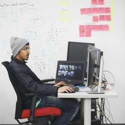 University of Utah graduate student Ajay Sathish works on a project in Salt Lake City on Wednesday, April 5, 2017. Utah and it's nationally ranked Entertainment Arts & Engineering video game development program announced Wednesday that it is forming the U.'s first college-sponsored varsity esports program.