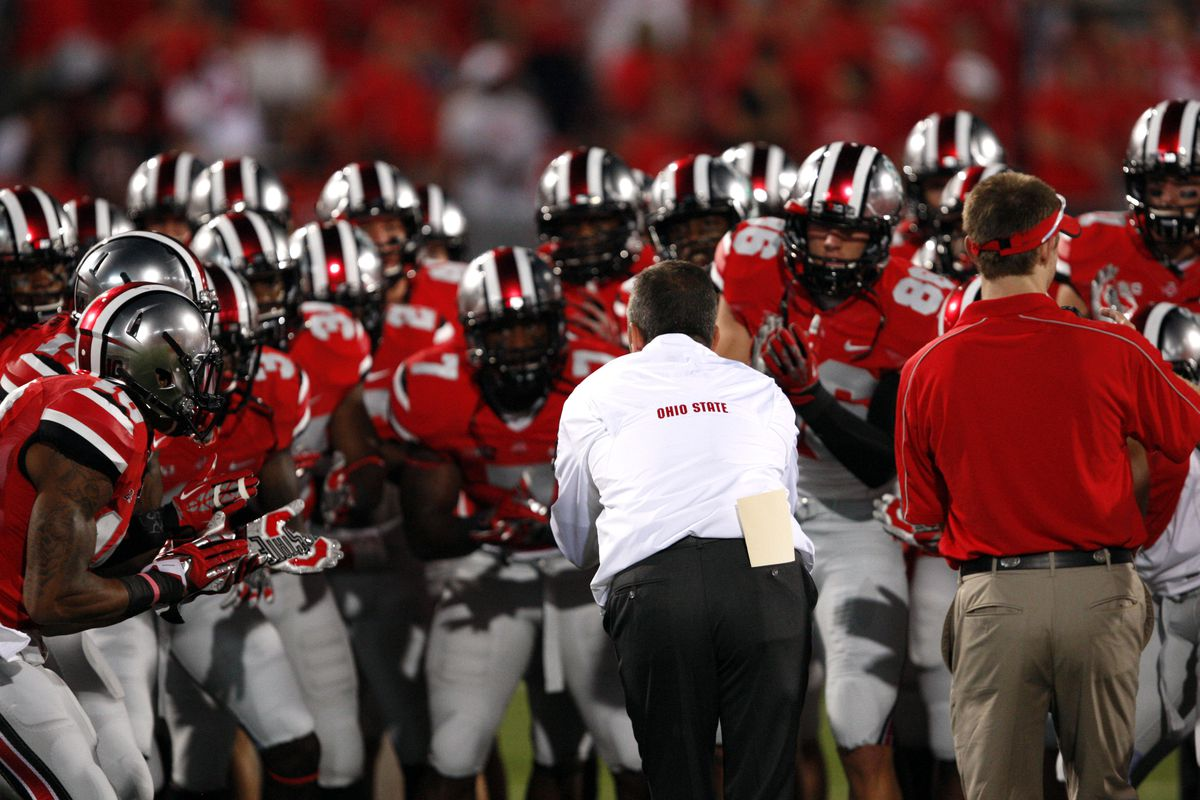 Urban Meyer gets his Ohio State Buckeyes pumped up for the prime time game against the Badgers.