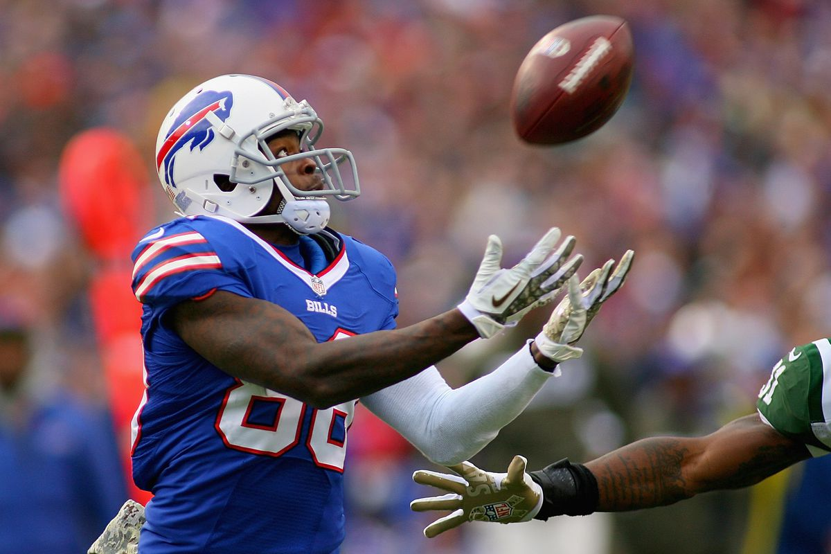 Buffalo Bills rookie wide receiver Marquise Goodwin catches a touchdown pass against the New York Jets