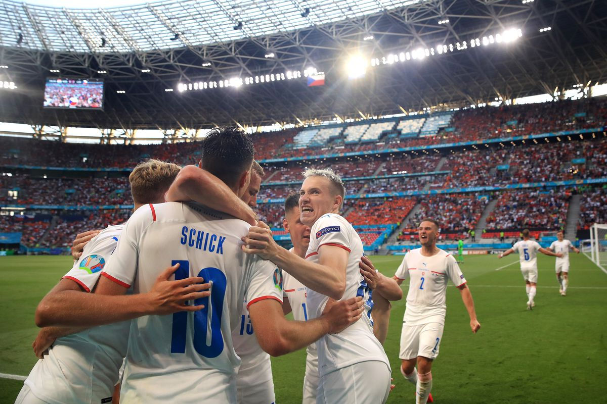 Patrik Schick of Czech Republic celebrates after scoring their side's second goal during the UEFA Euro 2020 Championship Round of 16 match between Netherlands and Czech Republic at Puskas Arena on June 27, 2021 in Budapest, Hungary.