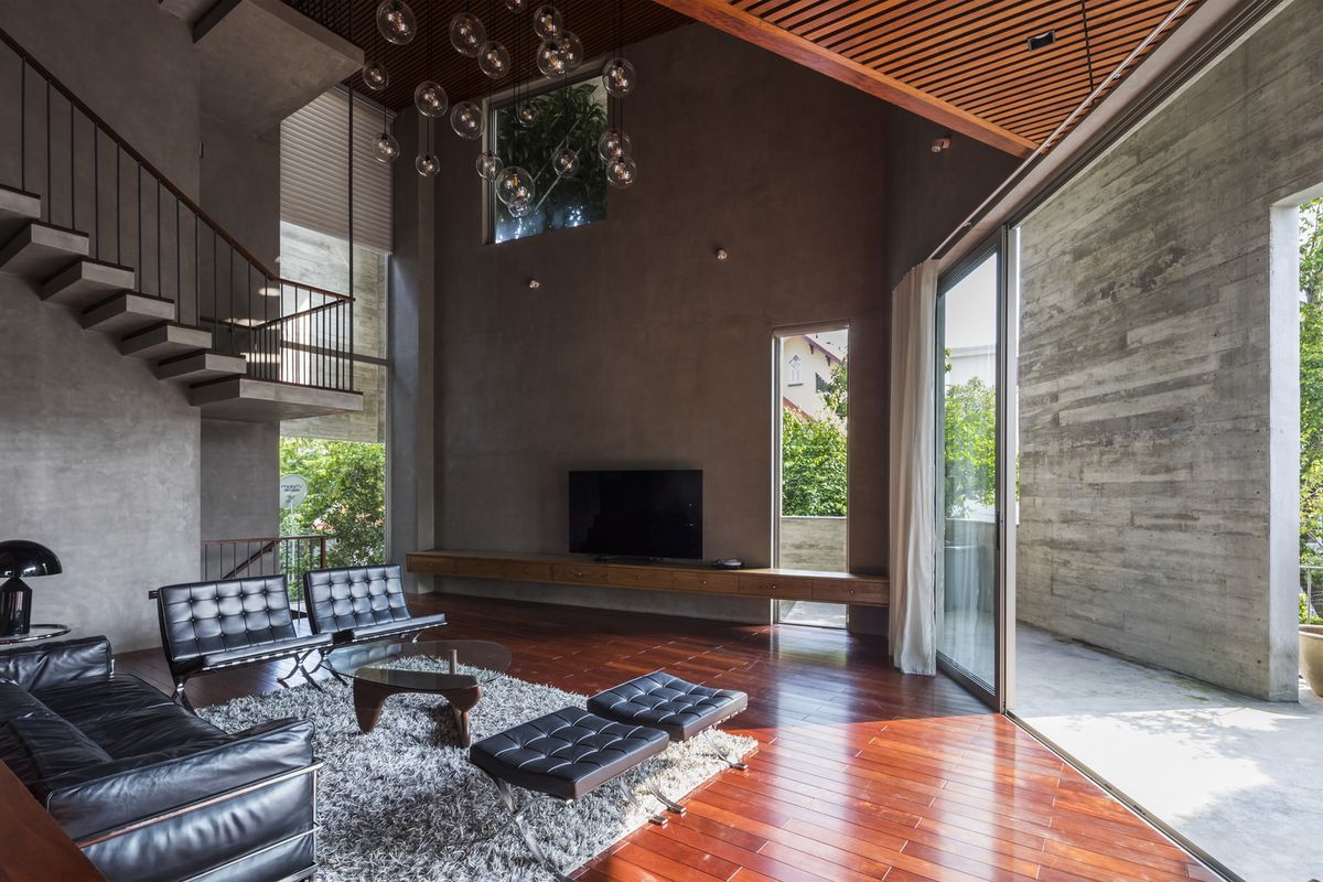 Living room with double height ceiling.
