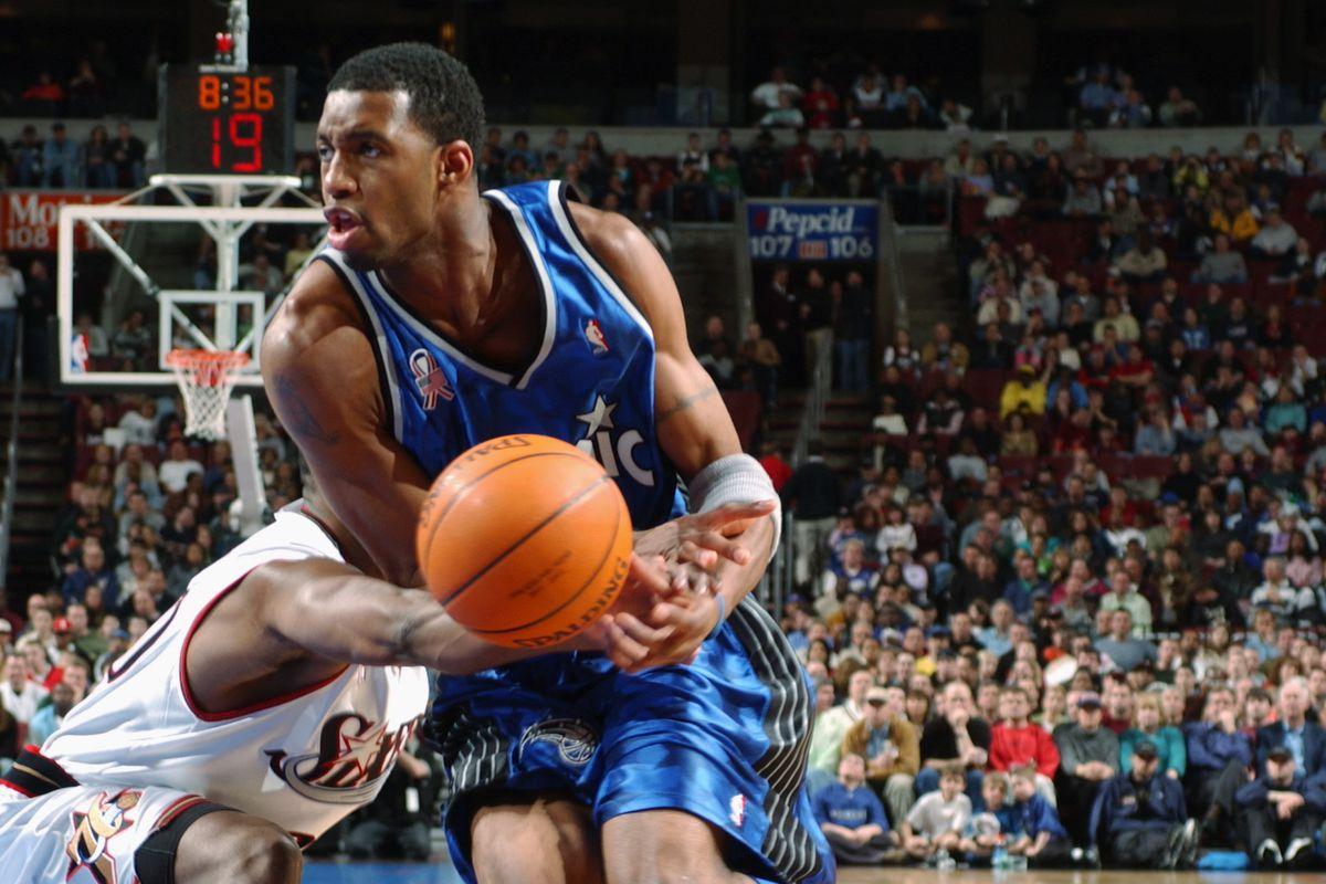 Tracy McGrady is fouled by a defender