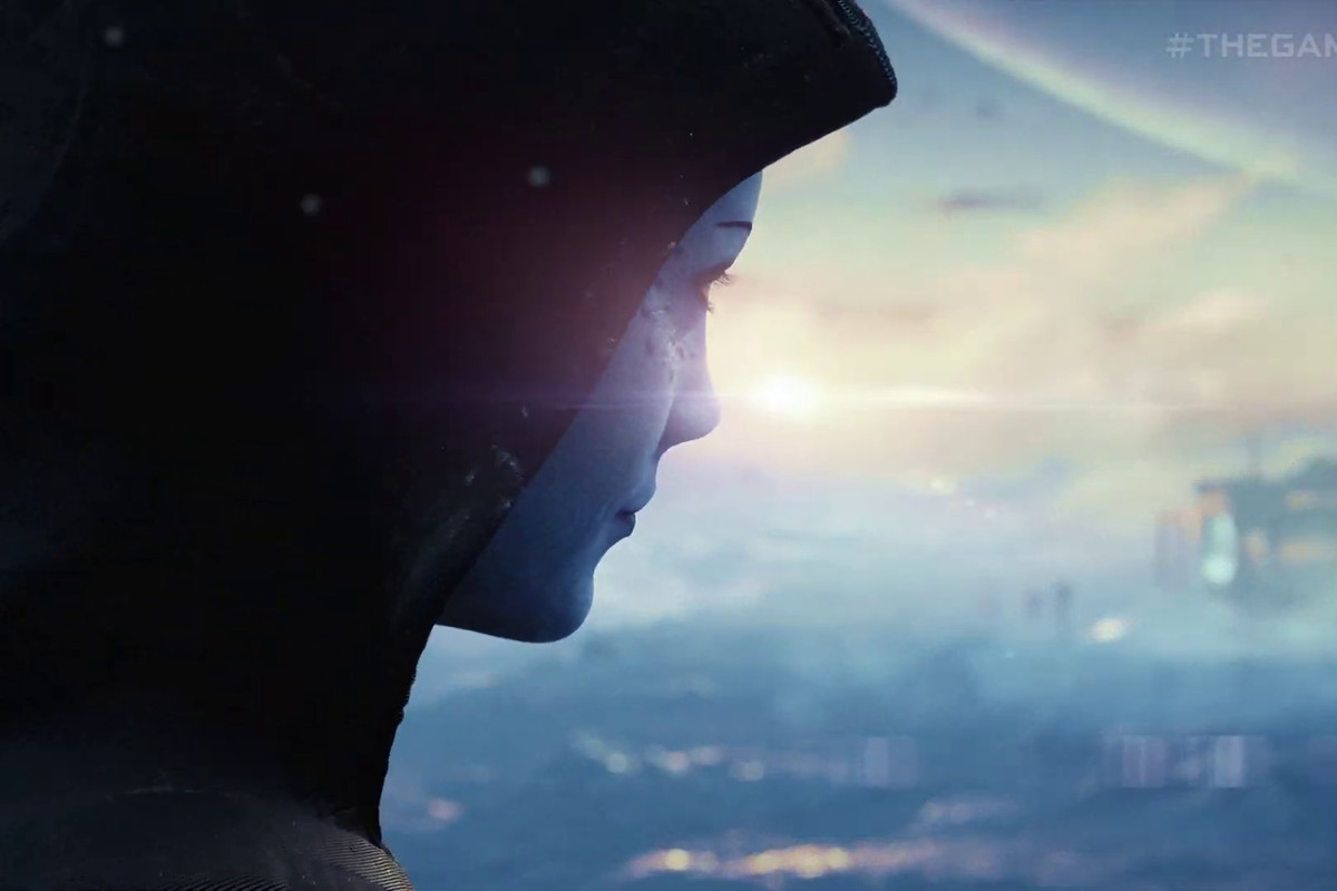 Liara in a hood in the Mass Effect teaser.