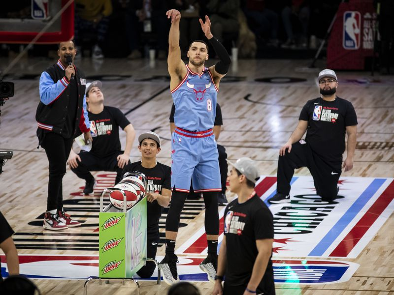 Chicago Bulls' Zach LaVine shoots during the Three-Point Contest Saturday night as part of the NBA All-Star basketball game weekend at the United Center in Chicago.